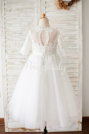 Princess Short Elbow Sleeves Ivory Lace Tulle Wedding Flower