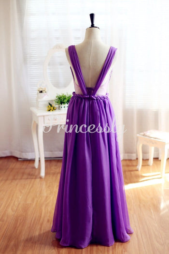 Purple Chiffon Bridesmaid Dress Prom Dress Backless Dress