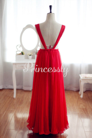 Red Chiffon Bridesmaid Dress Prom Dress Backless Party Dress