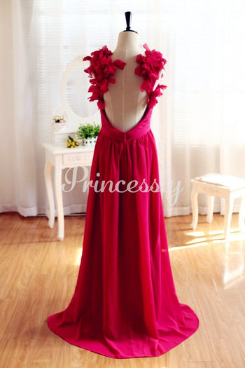Red Chiffon Open Back Backless Bridesmaid Dress Prom Dress