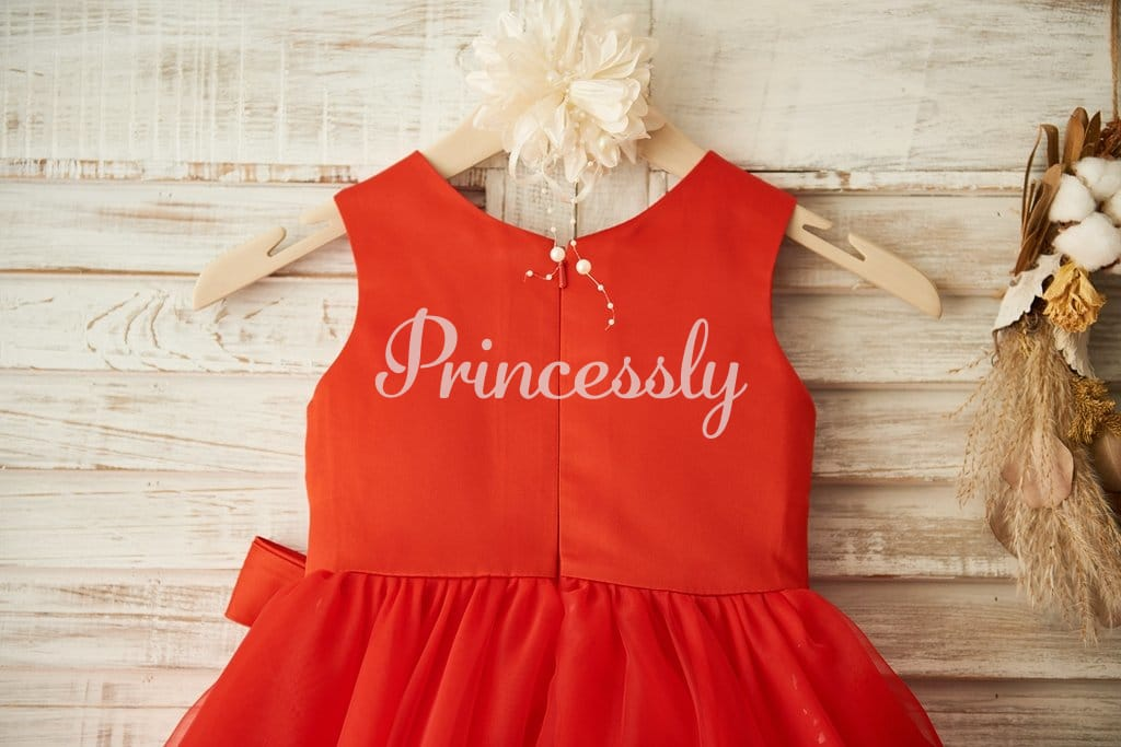 Red Lace Organza Wedding Flower Girl Dress with Belt