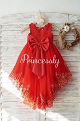 Red Lace Tulle Hi-Low Style Wedding Flower Girl Dress with