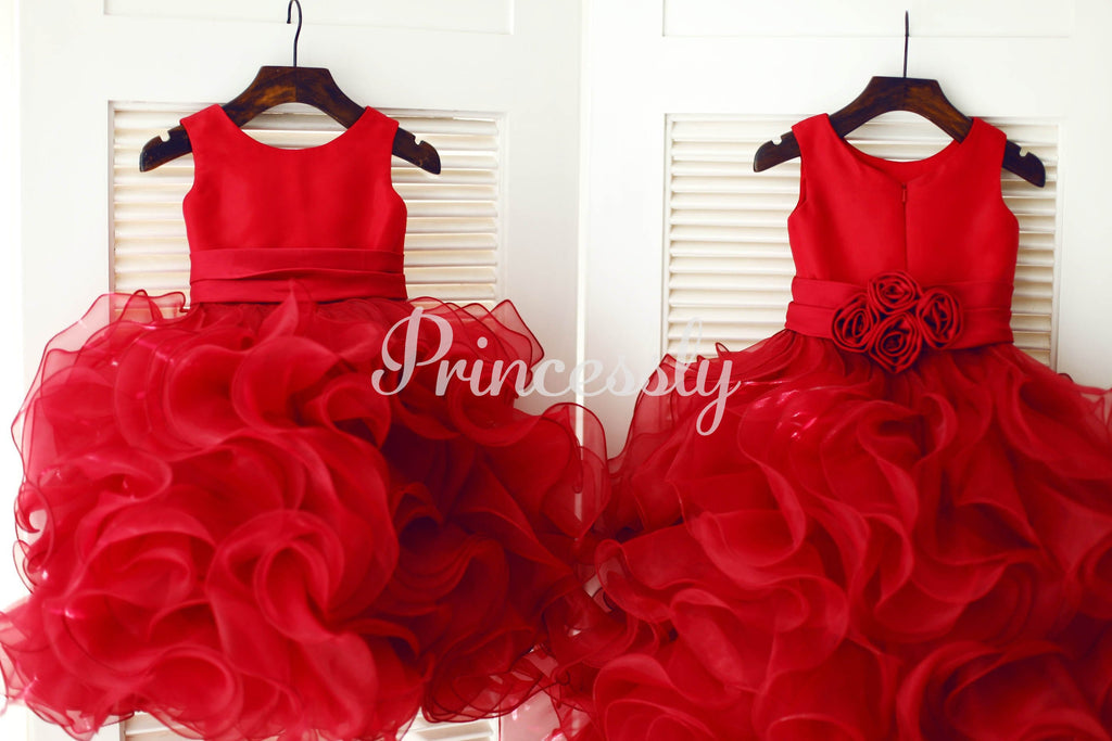 Red Satin Ruffle Organza TUTU Princess Flower Girl Dress