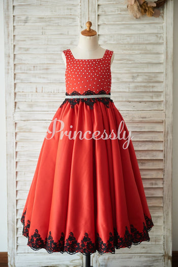 Red Satin Square Neck Wedding Party Flower Girl Dress with