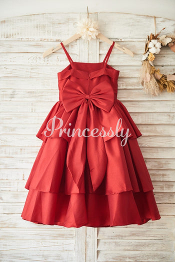 Red Taffeta Cupcake Wedding Flower Girl Dress with Spaghetti