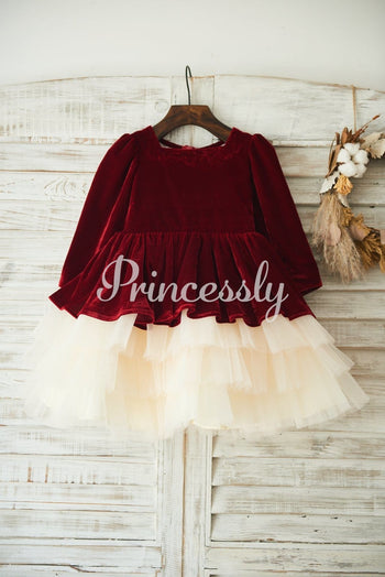 Red Velvet Champagne Tulle Wedding Party Flower Girl Dress