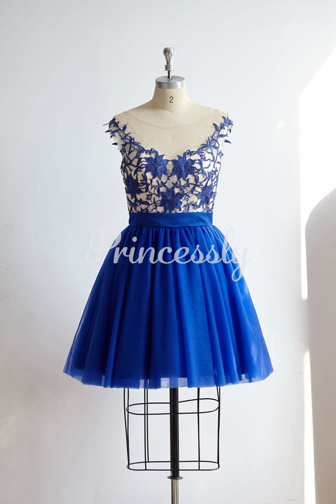 V Back Royal Blue Lace Tulle Short Knee Length Prom Party