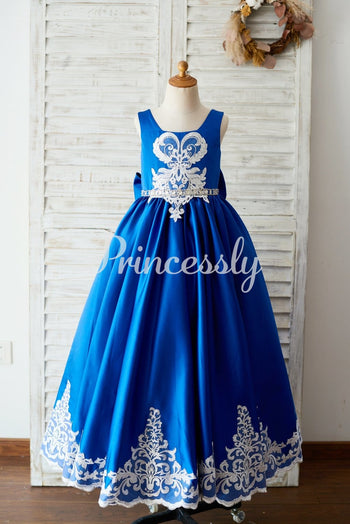 Royal Blue Satin Square Neck Wedding Party Flower Girl Dress