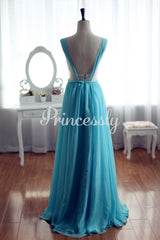 Sage Blue Chiffon Bridesmaid Dress Prom Dress