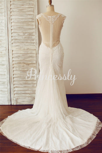 Sexy Fitted Deep V Neck Sheer Illusion Back Lace Wedding