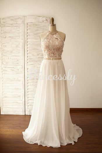 Sexy Halter Neck Backless Lace Chiffon Prom Dress