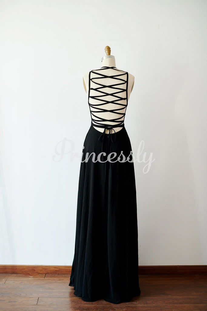 Sexy Lace Up Black Chiffon Wedding Bridesmaid Dress Evening