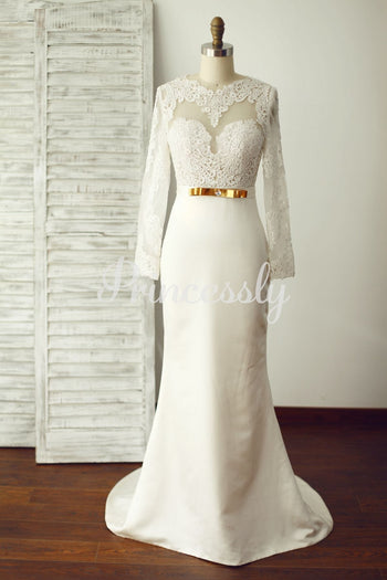 Sexy Long Lace Sleeves Backless Ivory Satin Wedding Dress