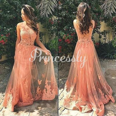 Sexy Pink Lace Tulle V Back Wedding Prom Evening Party Dress