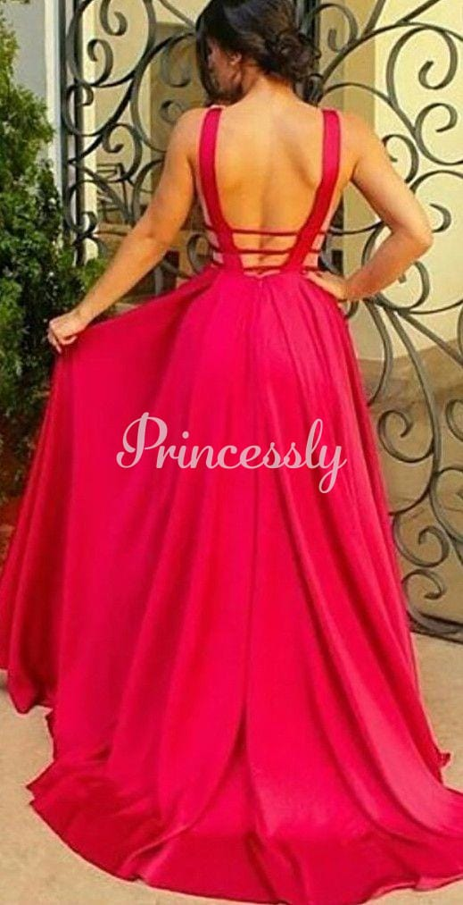 Sexy Red Chiffon Deep V Neck Backless Wedding Prom Evening