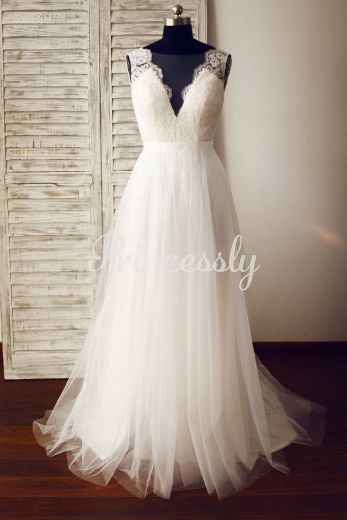 Sheer Illusion Lace Tulle Wedding Dress