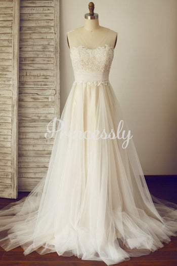 Sheer Illusion Lace Tulle Wedding Dress with Champagne