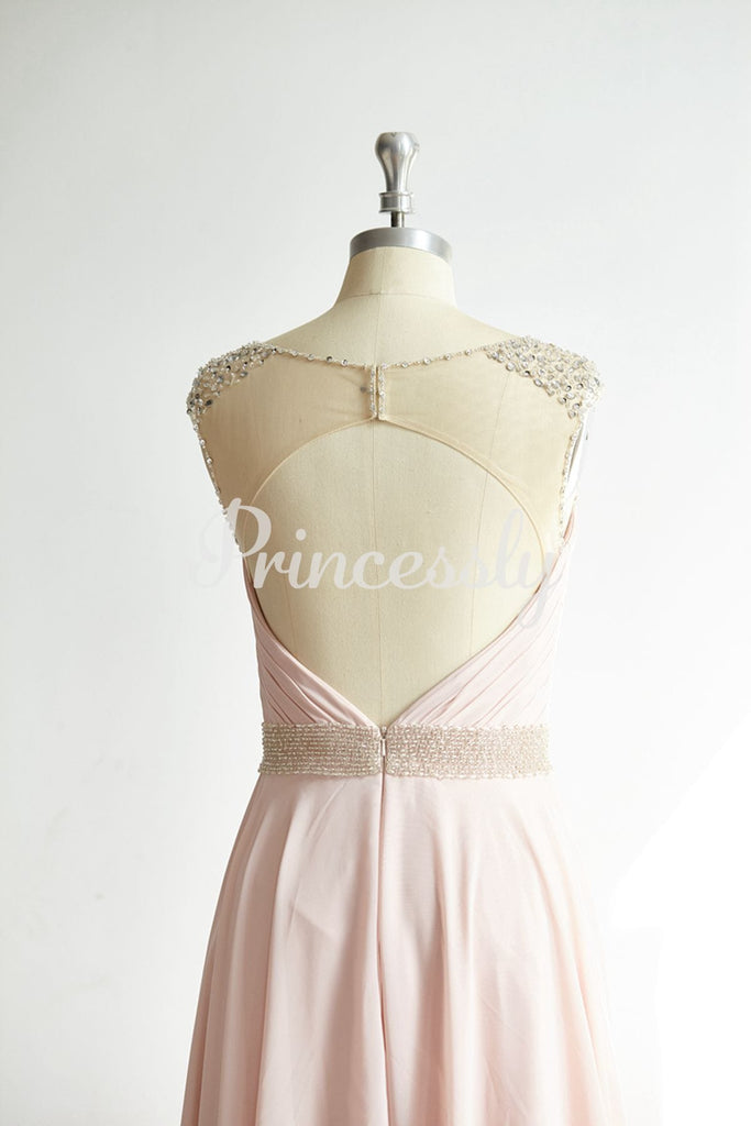 Sheer Illusion Neck Beaded Keyhole Back Pink Chiffon Tulle