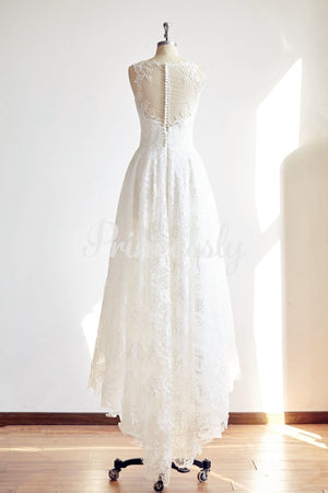 Sheer Illusion Neck High Low Ivory Lace Wedding dress Bridal