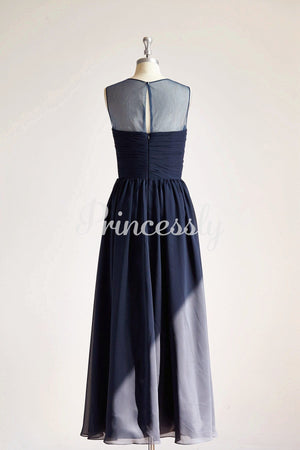 Sheer Illusion Neck Navy Blue Chiffon Tulle Long Wedding