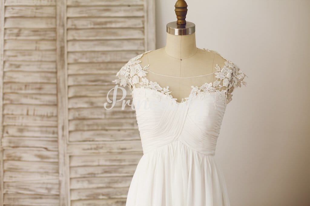 Sheer Illusion Neckline Chiffon Lace Wedding Dress