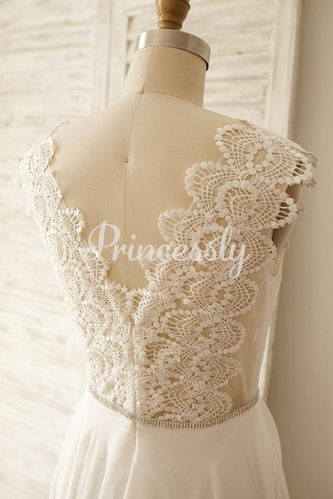 Sheer Lace Deep V Back Chiffon Wedding Dress