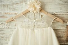 Sheer Neck Champagne Tulle Lace Wedding Flower Girl Dress