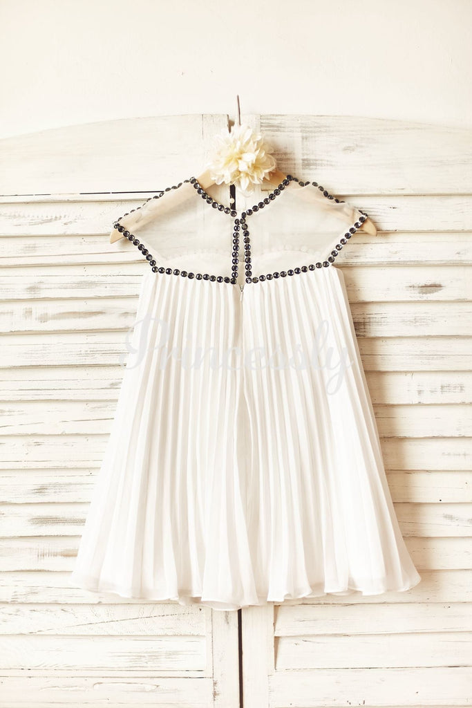 Sheer Neck Gray Beaded Ivory Chiffon Flower Girl Dress