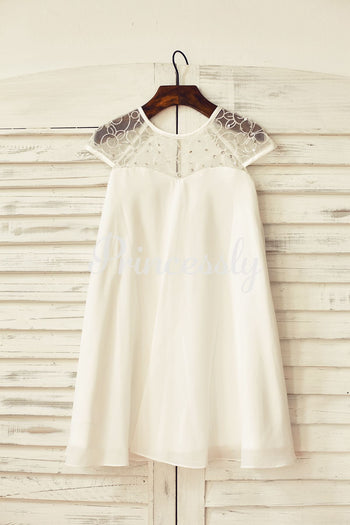 Sheer Neck Ivory Chiffon Flower Girl Dress