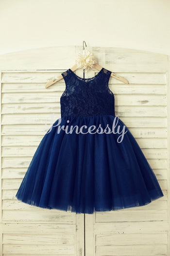 Sheer Neck Navy Blue Lace Tulle Flower Girl Dress - 2T /