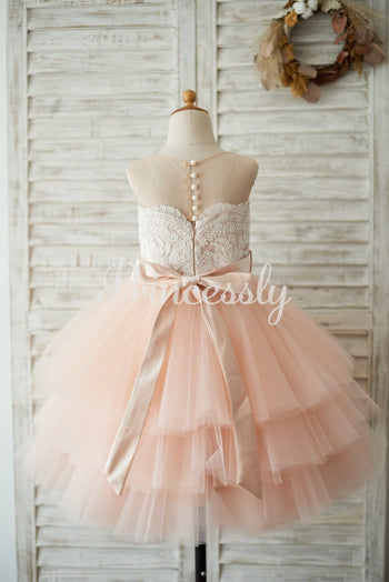 Sheer Neck Peach Pink Tulle Lace Cupcake Skirt Wedding