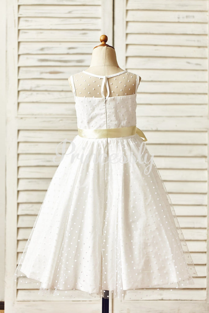 Sheer Neck Polka Dot Tulle Flower Girl Dress with Champagne
