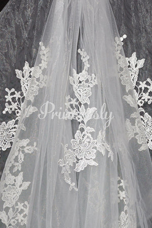 Short Elbow Length Horsehair Trim Lace Wedding Veil