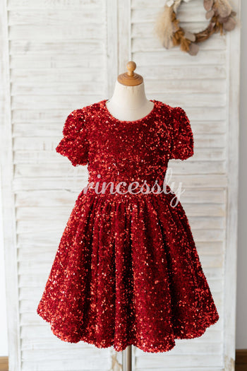 Short Sleeves Burgundy Sequin Wedding Flower Girl Dress Kids