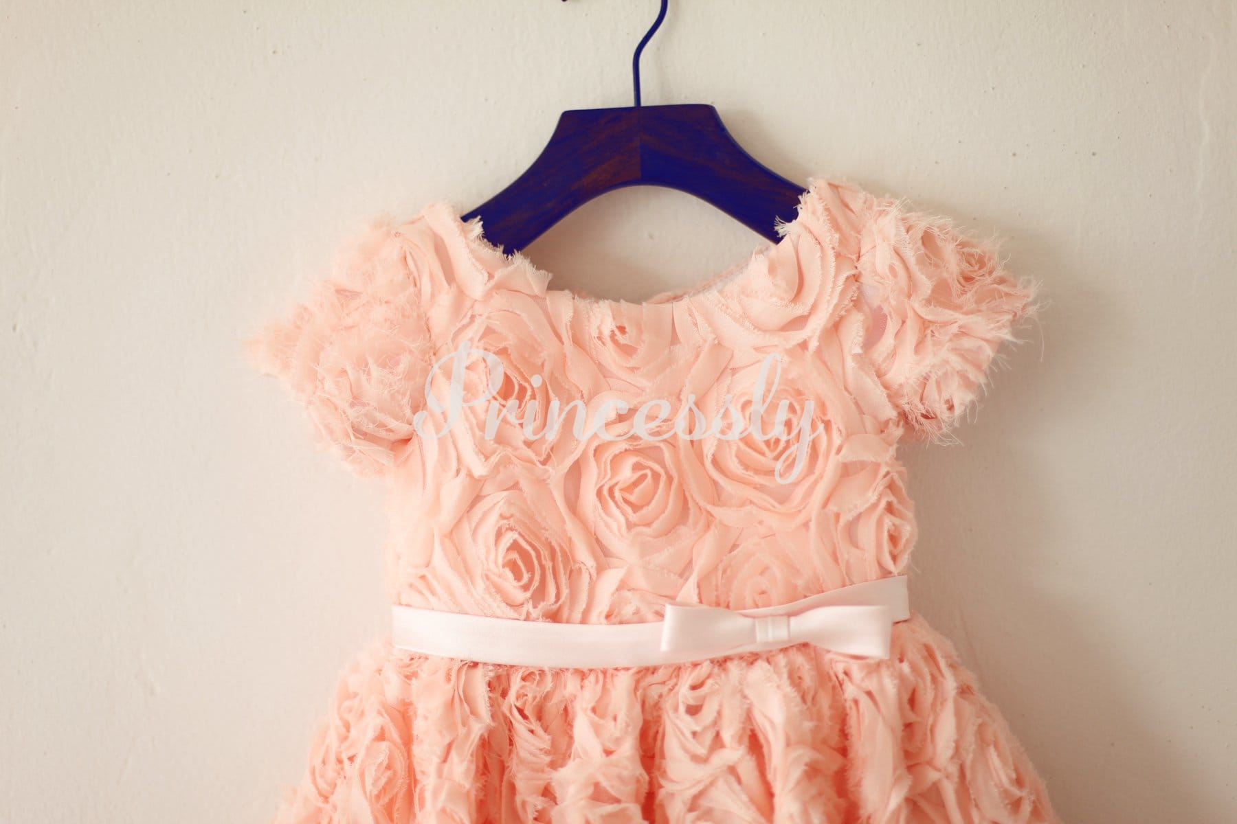 Short Sleeves Dusty Rose / Peach pink Rosette Flower Girl