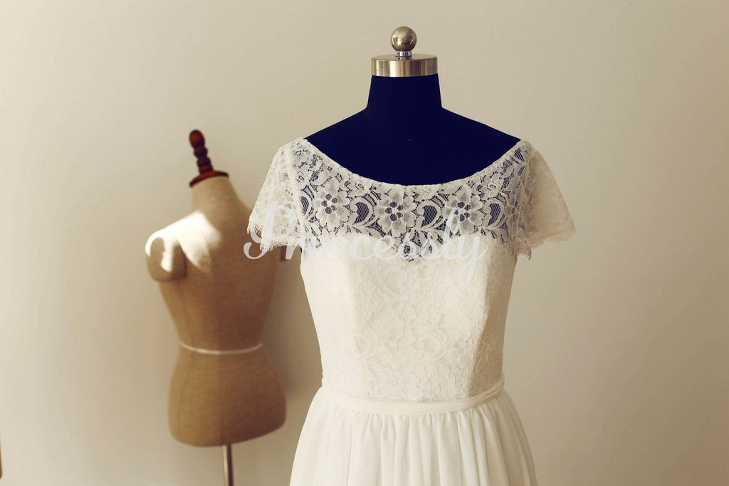 Short Sleeves See Through Back Ivory Lace Chiffon Wedding