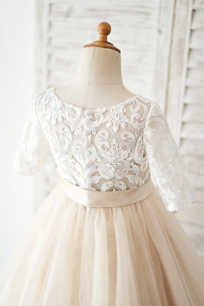 Short Sleeves Ivory Lace Tulle Wedding Flower Girl Dress