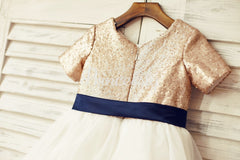 Short Sleeves Mate Champagne Sequin Tulle Flower Girl Dress