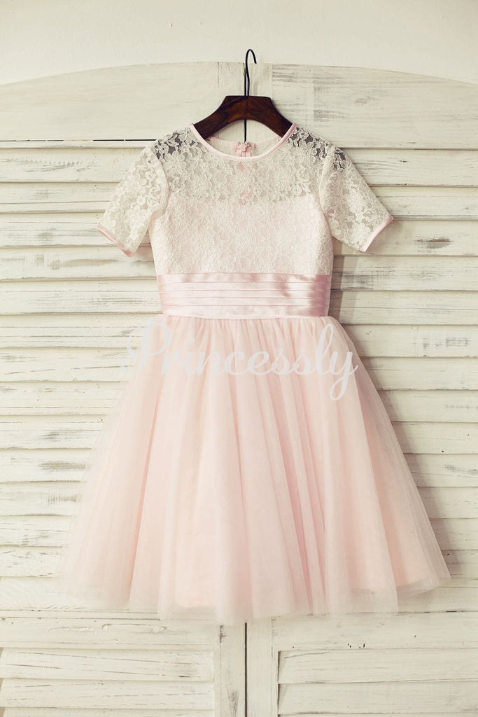 Short Sleeves Pink Lace Tulle Flower Girl Dress