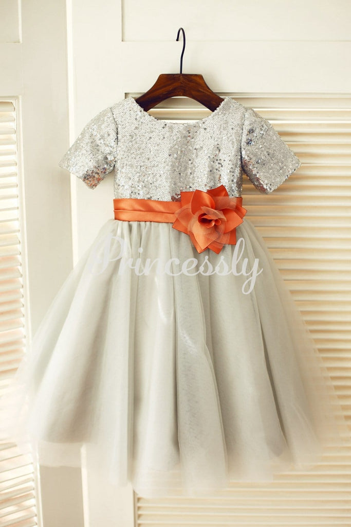Short Sleeves Silver Sequin Gray Tulle Wedding Flower Girl