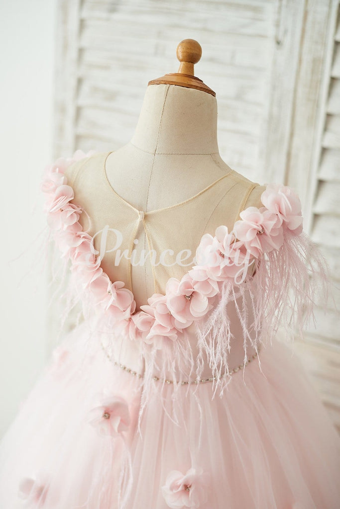 Off Shoulder Pink Tulle Feathers Wedding Party Flower Girl