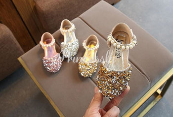 Silver / Gold / Pink Beaded Flower Girl Shoes Baby Dancing