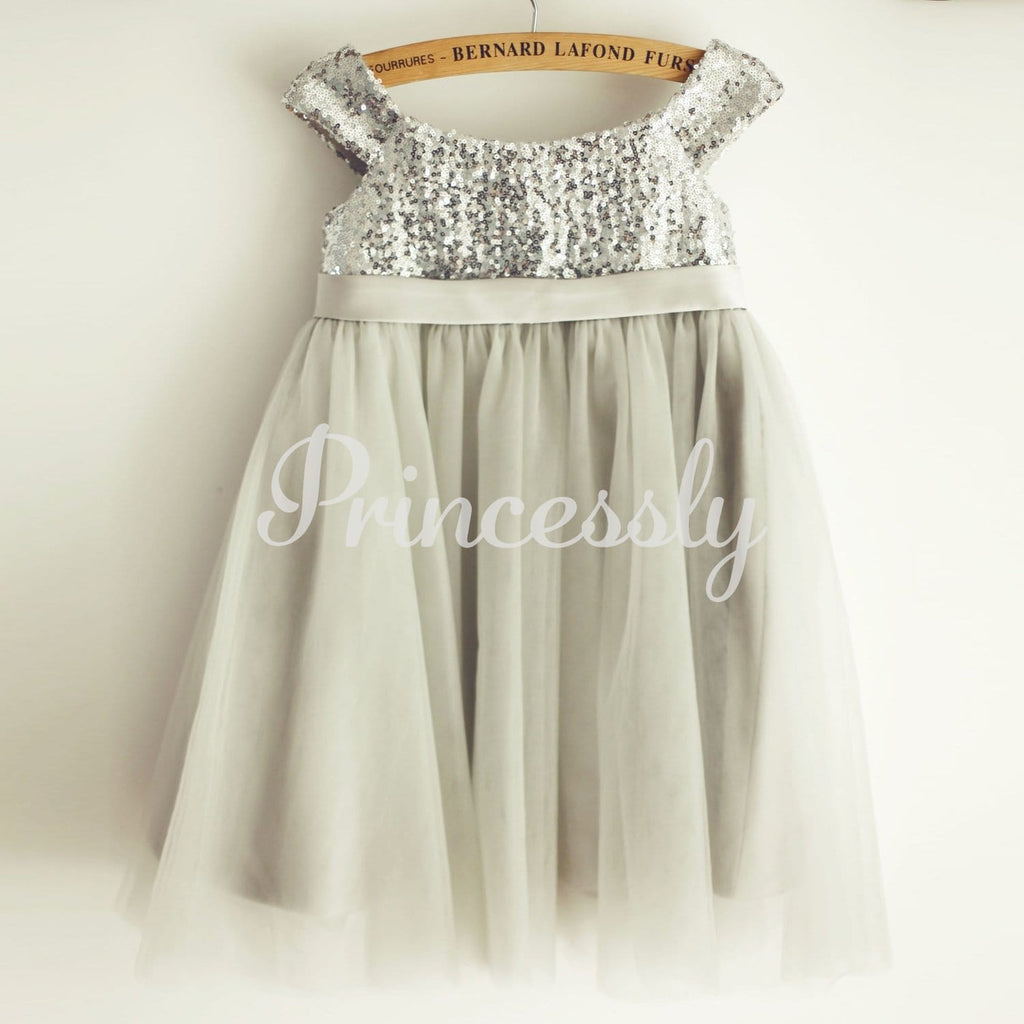 Silver Gray Sequin Tulle Straps Wedding Flower Girl Dress
