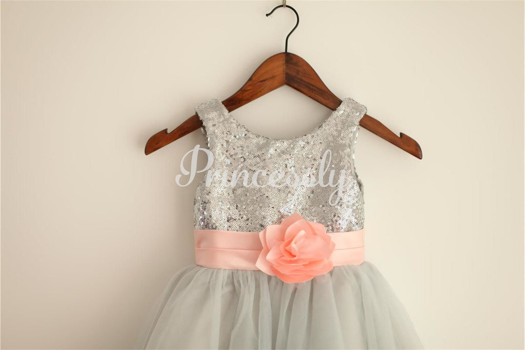 Silver Grey Sequin Tulle Flower Girl Dress with Blush Pink
