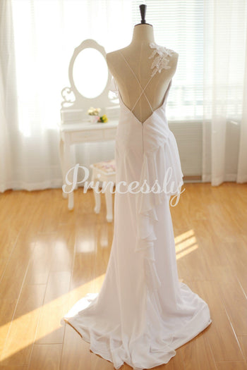 Simple Ivory Chiffon Wedding Dress Backless Dress with Lace