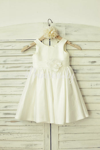Simple Ivory Taffeta Flower Girl Dress - 2T / Ivory