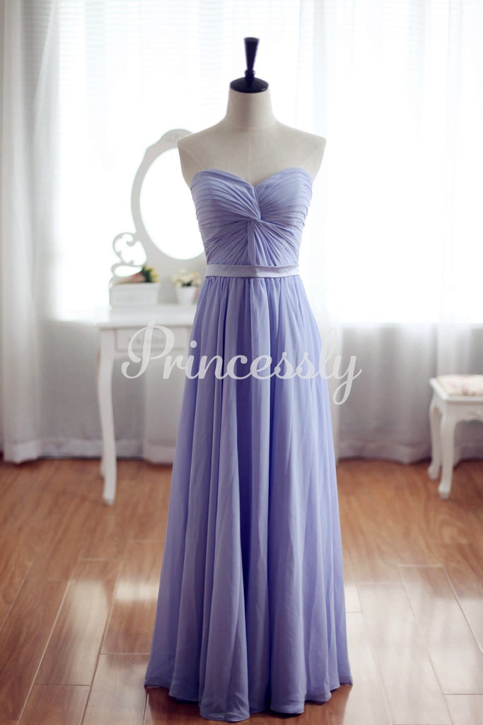 Simple Sleeveless Strapless Chiffon Gown for Brides