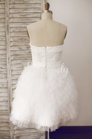 Simple Sweetheart Neckline Ruffles Tulle Short Dress