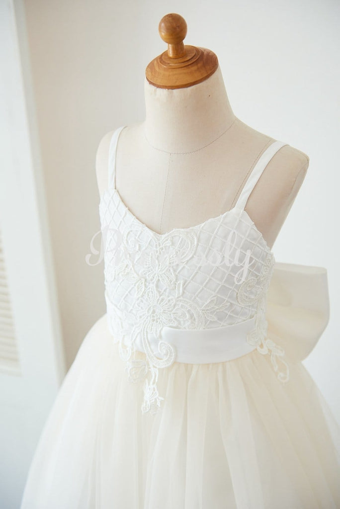 Spaghetti Straps Ivory Lace Champagne Tulle Backless Wedding
