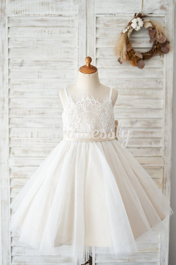 Spaghetti Straps Ivory Lace Tulle Wedding Flower Girl Dress